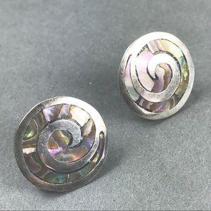 Vtg Mexico Sterling Abalone Shell Swirl Earrings